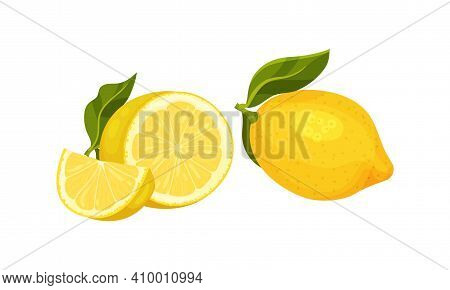 Whole And Halved Lemon Citrus Fruit With Juicy Flesh And Green Leaves Vector Set
