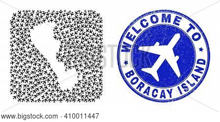 Vector Collage Boracay Island Map Of Aero Elements And Grunge Welcome Stamp. Mosaic Geographic Borac