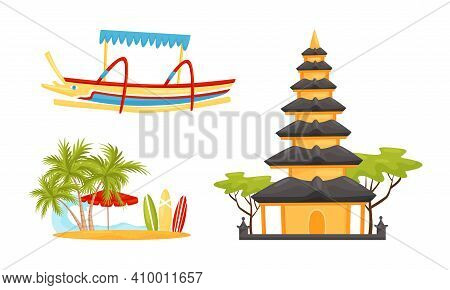 Bali Symbols And Landmarks With Boat, Beach With Surfboard And Pagoda Vector Set