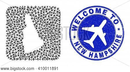 Vector Mosaic New Hampshire State Map Of Sky Jet Elements And Grunge Welcome Badge. Mosaic Geographi