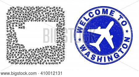 Vector Mosaic Washington State Map Of Aircraft Elements And Grunge Welcome Seal Stamp. Mosaic Geogra