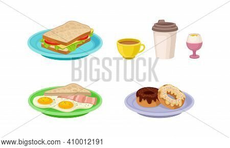 Breakfast With Sandwich, Sweet Doughnut And Scrambled Egg On Plate Vector Set