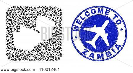 Vector Mosaic Zambia Map Of Transportation Elements And Grunge Welcome Seal Stamp. Mosaic Geographic