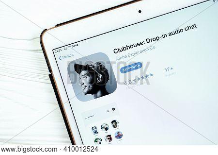 Kharkov, Ukraine - February 14, 2021: Clubhouse App In App Store Market On Ipad Display Screen. Club