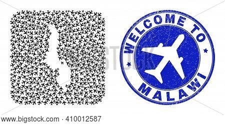 Vector Mosaic Malawi Map Of Air Vehicle Elements And Grunge Welcome Badge. Mosaic Geographic Malawi