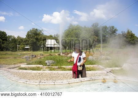 Travelers Thai Women People Travel Visit And Cooking Boiling Eggs In Pool Mineral Hot Water Of San K