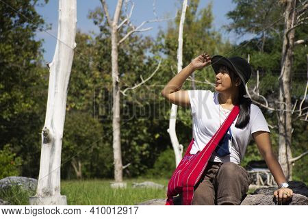 Travelers Thai Women People Travel Visit And Relax Posing Portrait For Take Photo In Garden Of San K