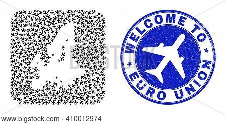 Vector Collage Euro Union Map Of Aeroplane Items And Grunge Welcome Seal. Collage Geographic Euro Un