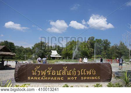 Stone Tag Label Information Detail Of San Kamphaeng Hot Springs In Sankamphaeng District For Thai Pe