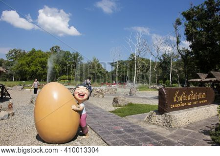Toy Cartoon Statue Symbol Of San Kamphaeng Hot Springs In Sankamphaeng District For Thai People And