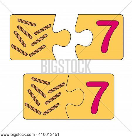 Educational Game For Kids. Find The Right Picture For The Number. Puzzle With Number Seven And Wafer