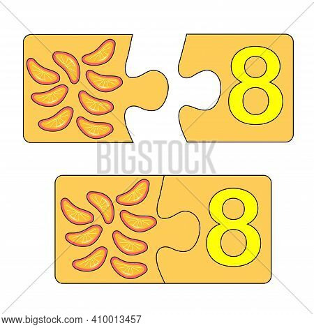 Educational Game For Kids. Find The Right Picture For The Number. Puzzle With Number Eight And Lolli