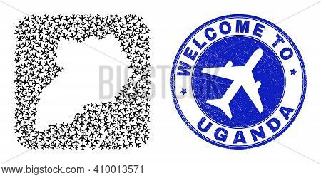 Vector Mosaic Uganda Map Of Air Shipping Items And Grunge Welcome Seal. Mosaic Geographic Uganda Map