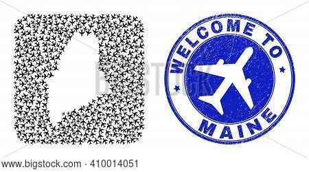 Vector Collage Maine State Map Of Aviation Elements And Grunge Welcome Badge. Mosaic Geographic Main