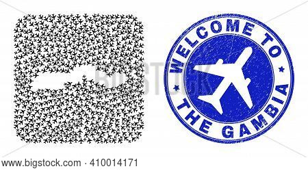 Vector Collage The Gambia Map Of Transportation Elements And Grunge Welcome Seal. Collage Geographic