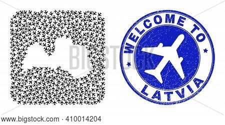 Vector Mosaic Latvia Map Of Airways Elements And Grunge Welcome Badge. Collage Geographic Latvia Map