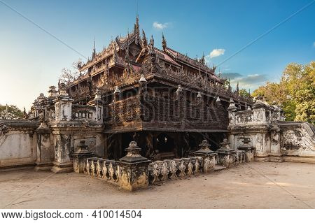 Shwenandaw Monastery Located In Mandalay, Myanmar Burma