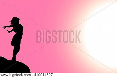 Vector Illustration Of A Black Silhouette Of A Beautiful Girl With Long Hair, Who Stands On The Edge