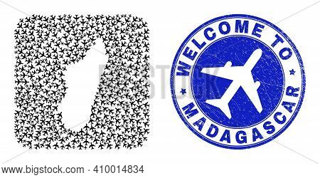Vector Collage Madagascar Island Map Of Aviation Items And Grunge Welcome Seal Stamp. Collage Geogra