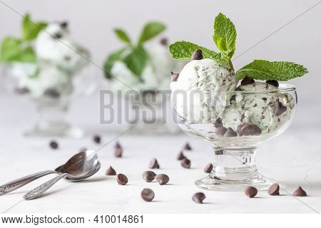Close Up Front View Of Bowls Of Mint Chocolate Chip Mint Ice Cream Garnished With Chocolate Chips An