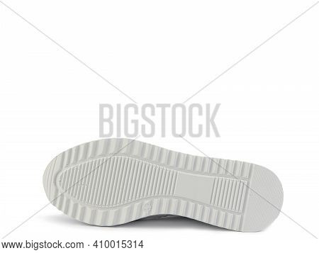 White Classic Leather Trainers. Casual Women's Style. White Lacing And White Rubber Soles. Isolated