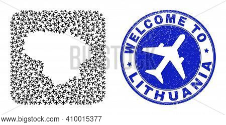Vector Mosaic Lithuania Map Of Air Fly Elements And Grunge Welcome Seal Stamp. Mosaic Geographic Lit