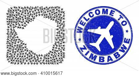 Vector Collage Zimbabwe Map Of Airways Elements And Grunge Welcome Stamp. Collage Geographic Zimbabw