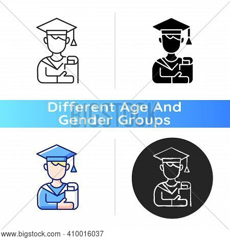 Male Student Icon. Early Adulthood. Establishing Identity. Pursuing Education. Life Stage Between Ad