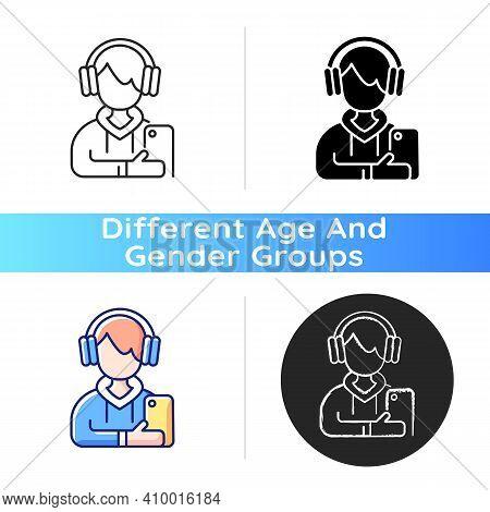 Teenage Boy Icon. Male Teenager. Adolescence. Emotional Development. School Stress, Peer Problems. M