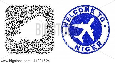 Vector Mosaic Niger Map Of Air Vehicle Elements And Grunge Welcome Stamp. Mosaic Geographic Niger Ma