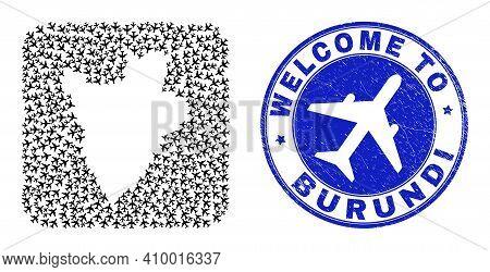 Vector Mosaic Burundi Map Of Items And Grunge Welcome Badge. Mosaic Geographic Burundi Map Designed