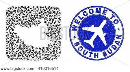 Vector Collage South Sudan Map Of Air Flight Items And Grunge Welcome Seal. Collage Geographic South