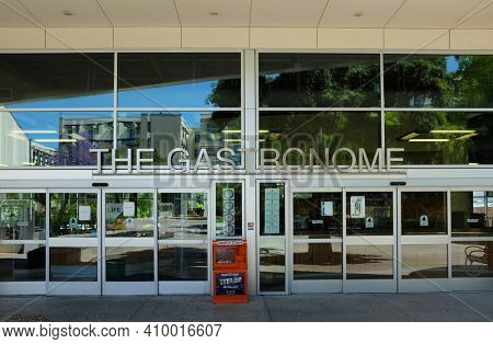 FULLERTON CALIFORNIA - 22 MAY 2020: Entrance to The Gastronome on the campus of California State University Fullerton, is a unique, all-you-care-to-eat dining facility, with healthy, nutritious meals
