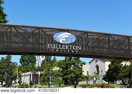 FULLERTON, CALIFORNIA - 21 MAY 2020:  Closeup of the Fullerton College elevated walkway over Chapman Avenue connecting Student Services with the main campus.