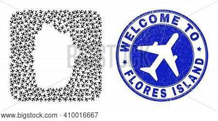 Vector Mosaic Flores Island Of Azores Map Of Aero Items And Grunge Welcome Badge. Mosaic Geographic