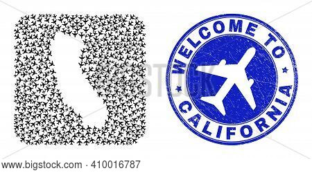 Vector Mosaic California State Map Of Air Plane Items And Grunge Welcome Seal Stamp. Mosaic Geograph