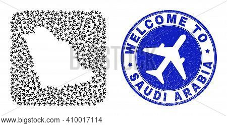 Vector Mosaic Saudi Arabia Map Of Airways Items And Grunge Welcome Stamp. Mosaic Geographic Saudi Ar