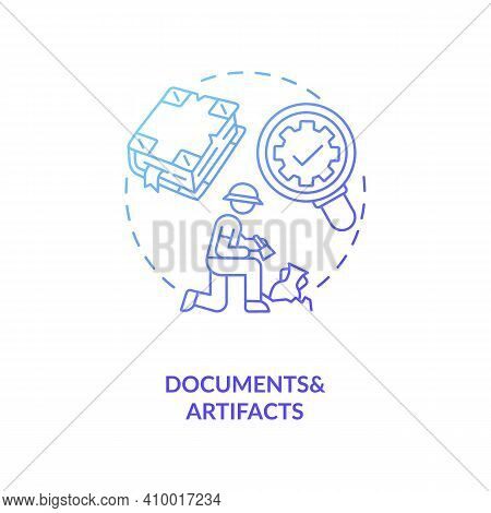Analysis Of Documents And Artifacts Concept Icon. Scientific Research Idea Thin Line Illustration. Q