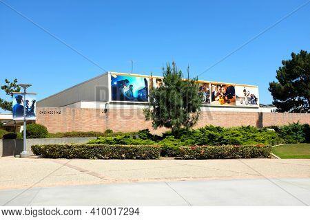 FULLERTON CALIFORNIA - 22 MAY 2020: Engineering building on the campus of California State University Fullerton, CSUF.