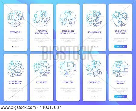 Documents And Artifacts Onboarding Mobile App Page Screen With Concepts Set. Focus Group And Experim
