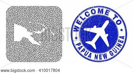 Vector Collage Papua New Guinea Map Of Air Shipping Elements And Grunge Welcome Seal Stamp. Collage