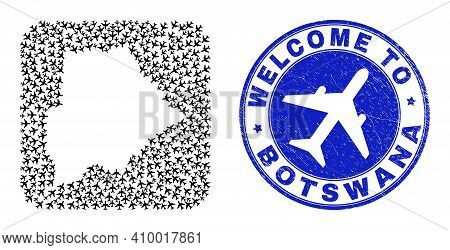 Vector Mosaic Botswana Map Of Air Vehicle Items And Grunge Welcome Seal Stamp. Mosaic Geographic Bot