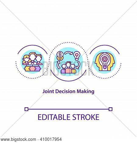 Joint Decision Making Concept Icon. Collegiality Idea Thin Line Illustration. Management Of Executiv