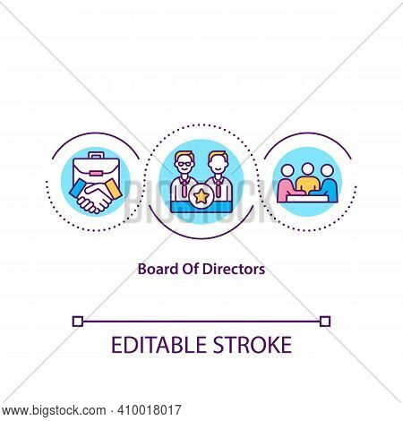 Board Of Directors Concept Icon. Powers, Duties, And Responsibilities Idea Thin Line Illustration. G
