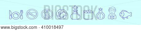 Set Of Lent Cartoon Icon Design Template With Various Models. Modern Vector Illustration Isolated On