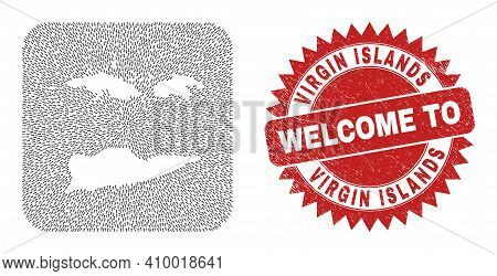 Vector Mosaic American Virgin Islands Map Of Movement Arrows And Rubber Welcome Badge.
