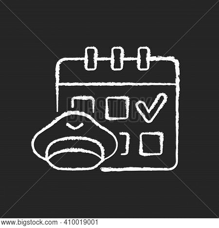Crew Scheduling Chalk White Icon On Black Background. Civil Aviation Industry. Airlines Work. Pilots