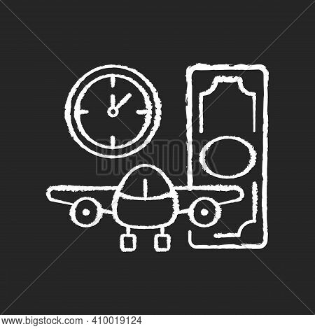 Aircraft Rental Chalk White Icon On Black Background. Ability To Get Plane For Rent. Light Aircraft.