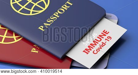 Coronavirus Immunity Passports, Immune Covid19 Status Card Tourist, Red And Blue Color Travel Docume
