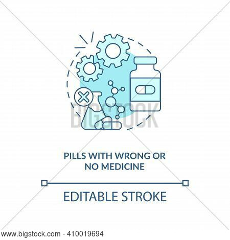 Pills With Wrong Or No Medicine Concept Icon. Buying Drugs. Online Pharmacy Idea Thin Line Illustrat